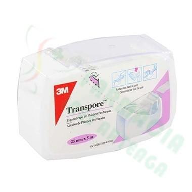 ESPARADRAPO HIPOALERGICO TRANSPORE PLASTIC PORTAR 5 M X 2,5 CM