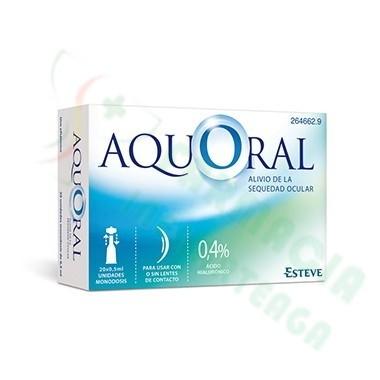 AQUORAL GOTAS OFTALMICAS LUBRICANTES AC HIALURONICO 0.4% MONODOSIS 0.5 ML 20 U