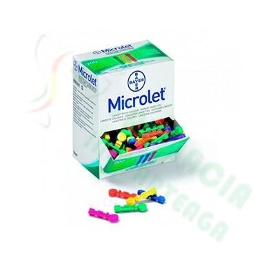 LANCETAS MICROLET DE COLORES 25 U