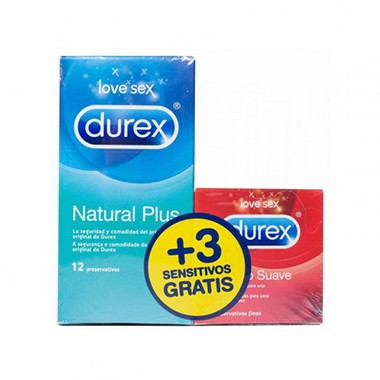 DUREX NATURAL PLUS + DUREX SENSITIVO CONFORT PRESERVATIVOS PACK 12 + 3 PRESERV