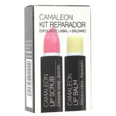 KIT REPARADOR LABIAL EXFOLIANTE LIP SCRUB FRESA 4 G + BALSAMO LIP BALM CAMALEON 4 G