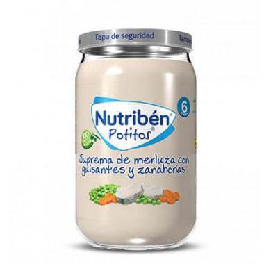 POTITO SUPREMA DE MERLUZA CON GUISANTES Y ZANAHORIAS NUTRIBEN GRANDOTE 235 G